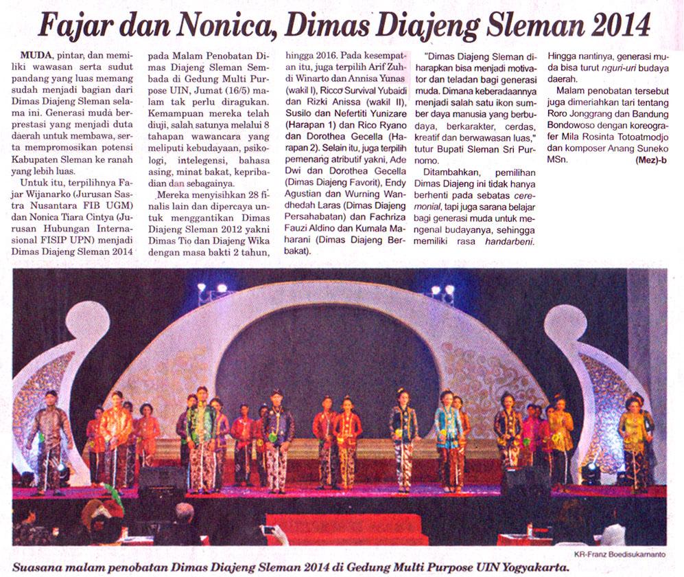 Risky Annisa salah satu Dimas Diajeng Sleman 2014 belajar tari gaya Yogyakarta di Kotagede